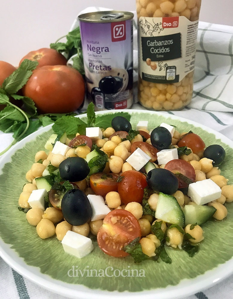 ensalada de garbanzos estilo griego