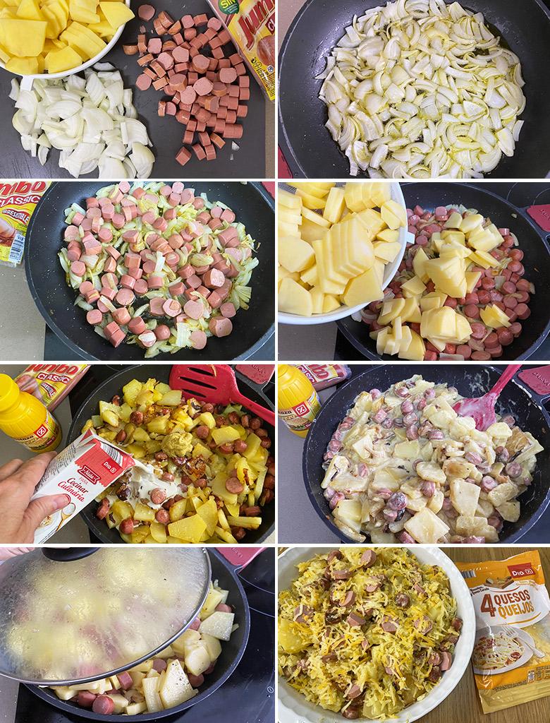 graten de patatas con salchichas paso a paso
