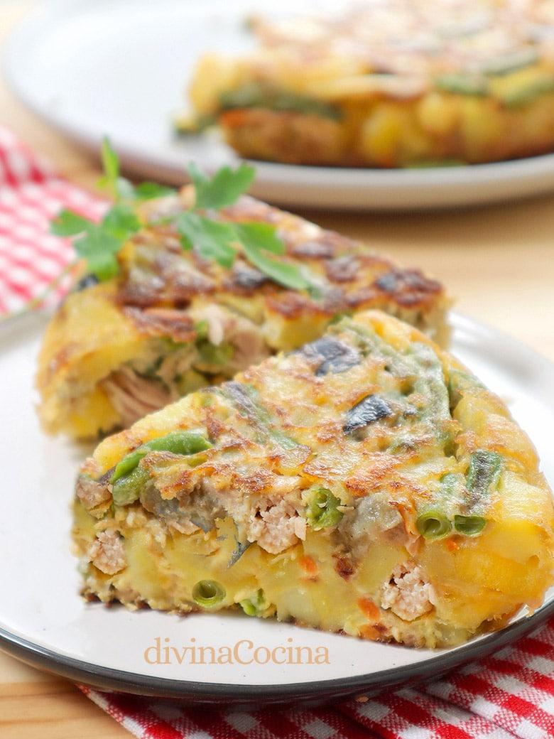 tortilla de patatas atun y verdura