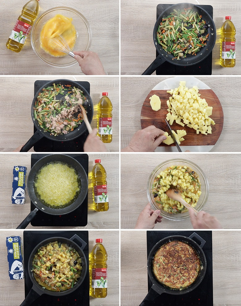 tortilla de patatas atun y verdura paso paso