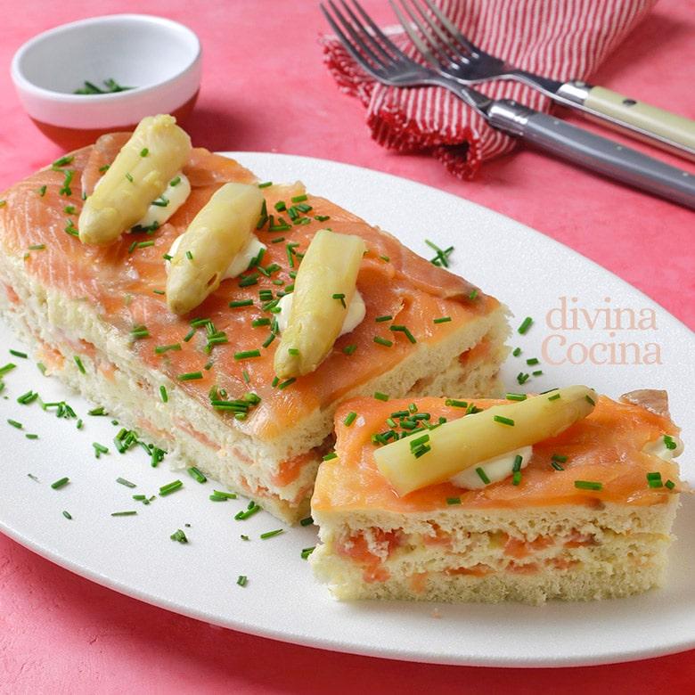 pastel de salmon y esparragos con pan de molde