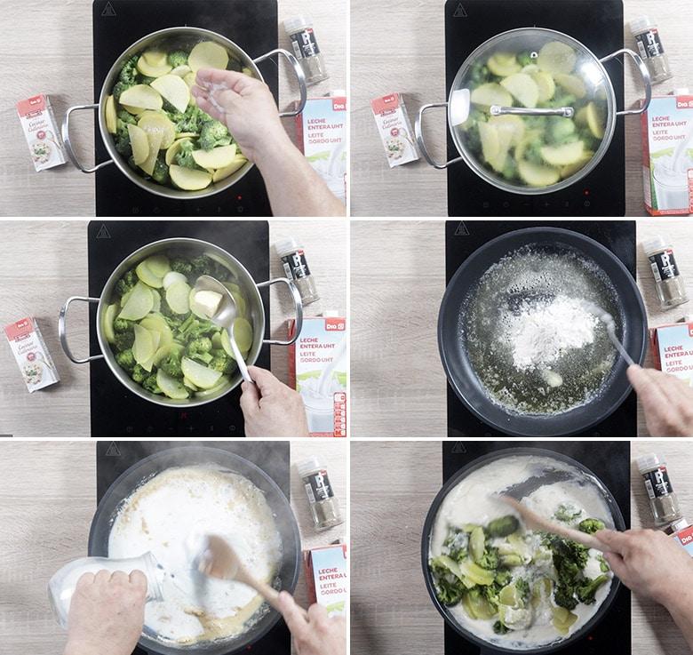 brocoli a la crema con patatas paso a paso