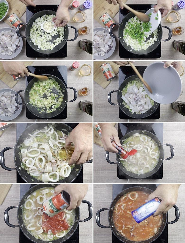 calamares salsa americana paso a paso