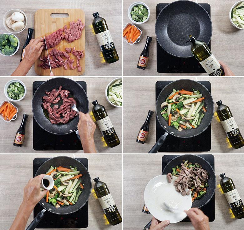wok de ternera con verduras paso a paso