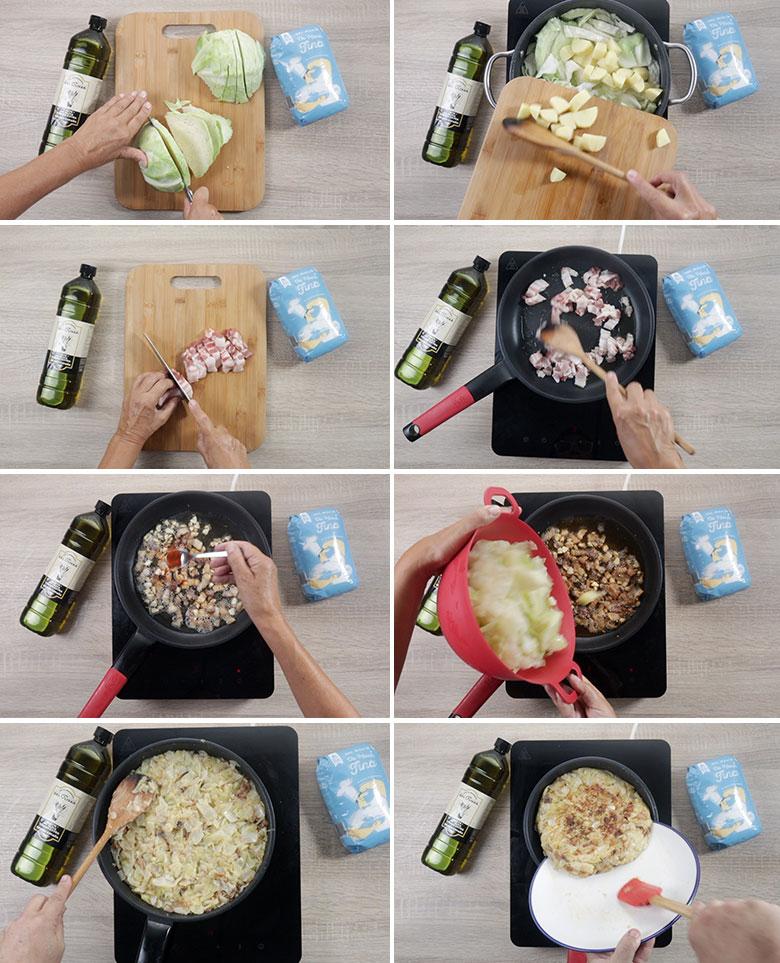 trinxat de col patatas y panceta paso paso