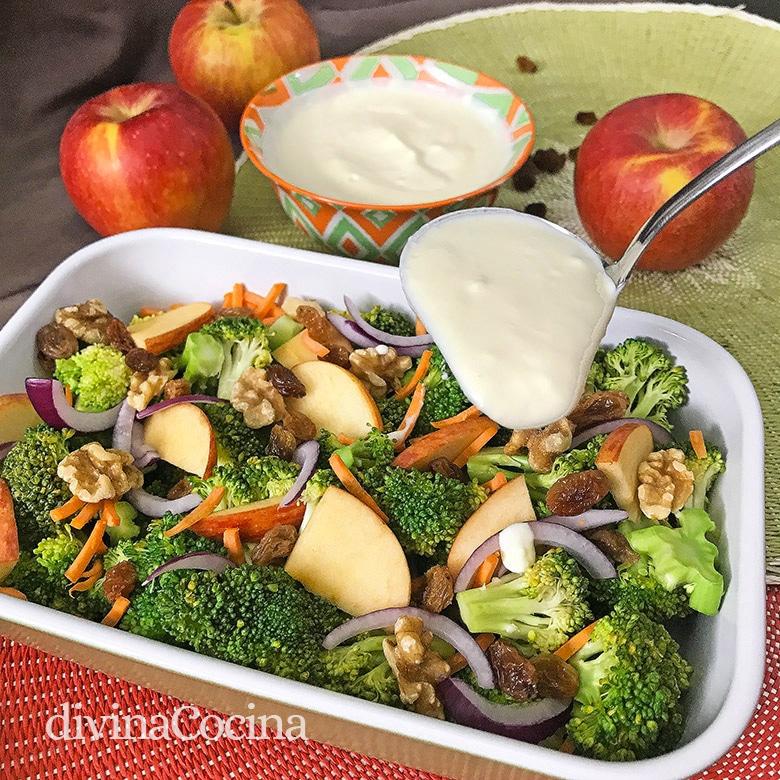 ensalada de brocoli manzana nueces
