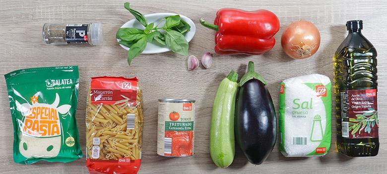 macarrones con pisto de verduras ingredientes