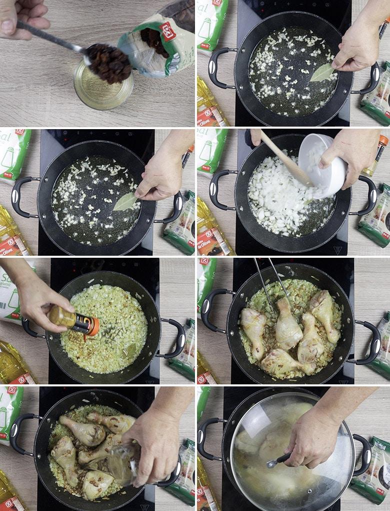 pollo guisado al curry paso a paso