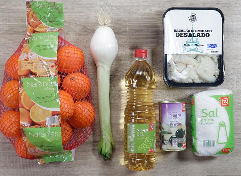 ensalada de bacalao y naranjas ingredientes