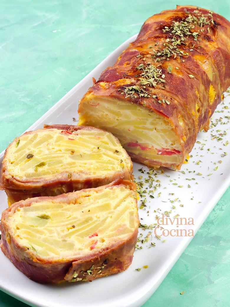 pastel de tortilla de patata bacon