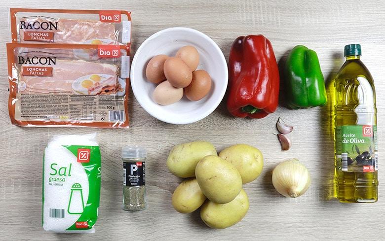 pastel de tortilla de patata bacon ingredientes
