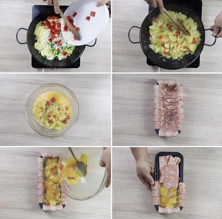 pastel de tortilla bacon paso paso