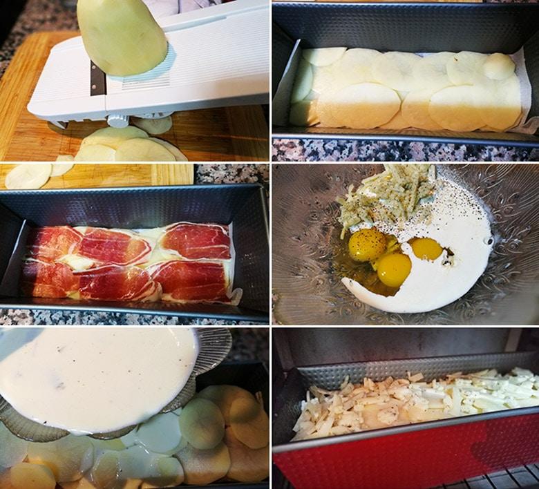 pastel de patatas jamon y queso paso a paso