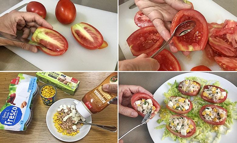 tomates rellenos frios paso a paso