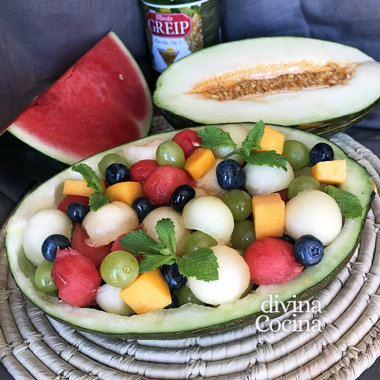 melon relleno de fruta