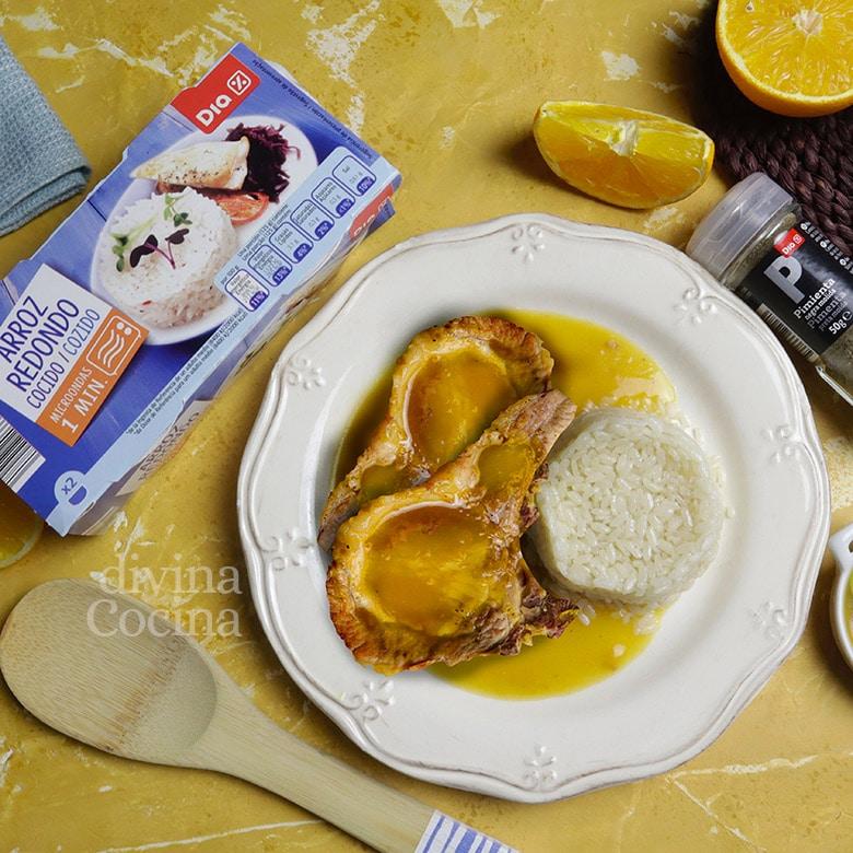chuletas de cerdo a la naranja