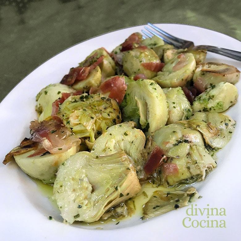alcachofas saltteadas con jamon