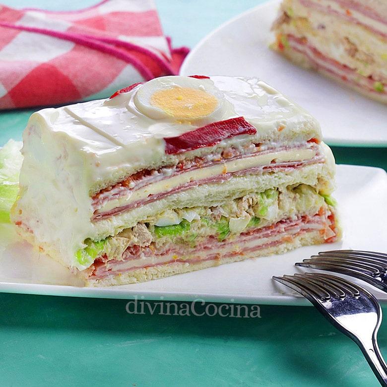 pastel vegetal de pan de molde