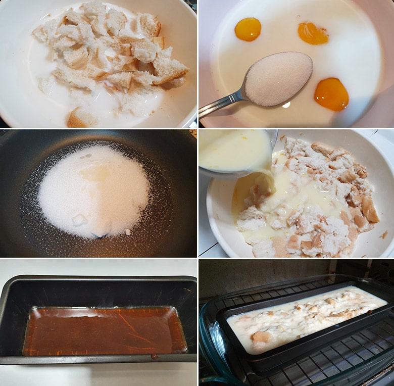 pudding de pan de molde paso a paso