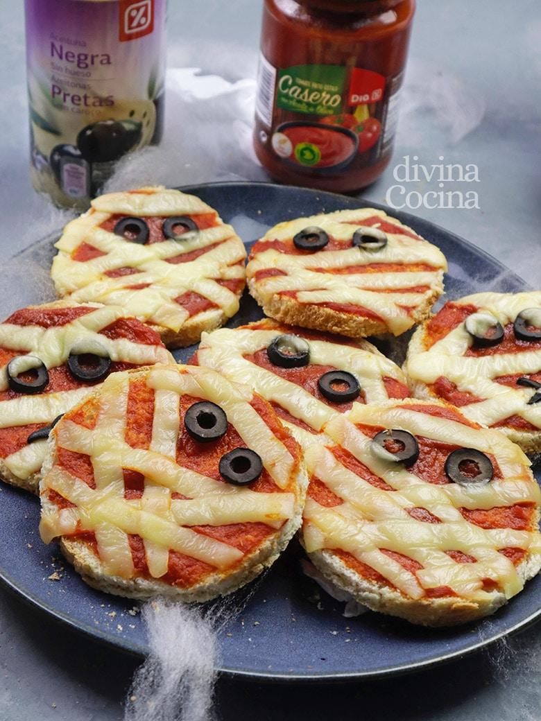 mini pizzas momia halloween
