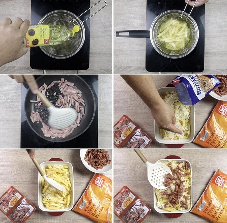 patatas con queso y bacon paso a paso