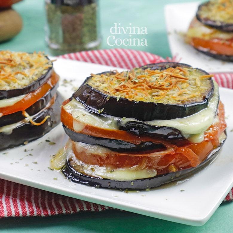 milhojas de berenjena y queso