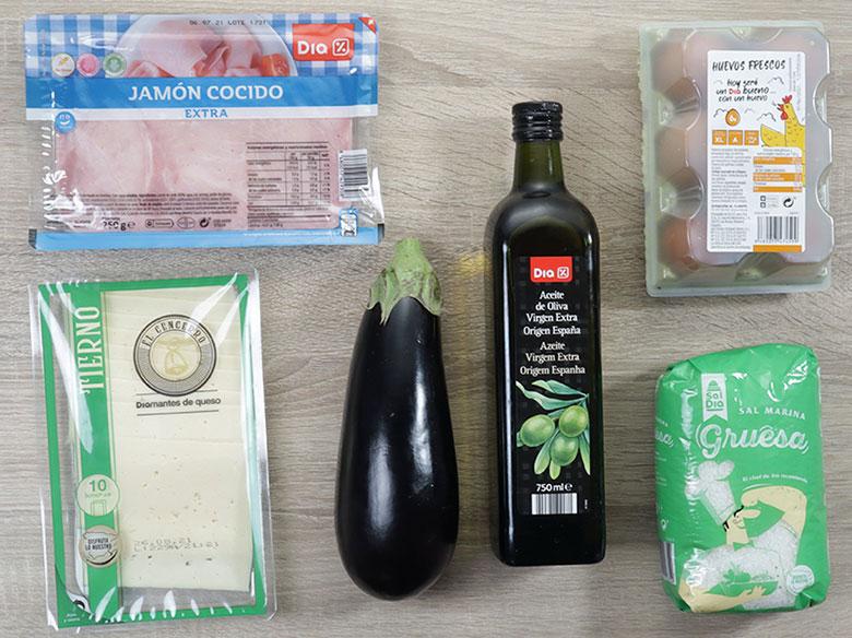 tortilla de berenjenas, queso y pimientos ingredientes