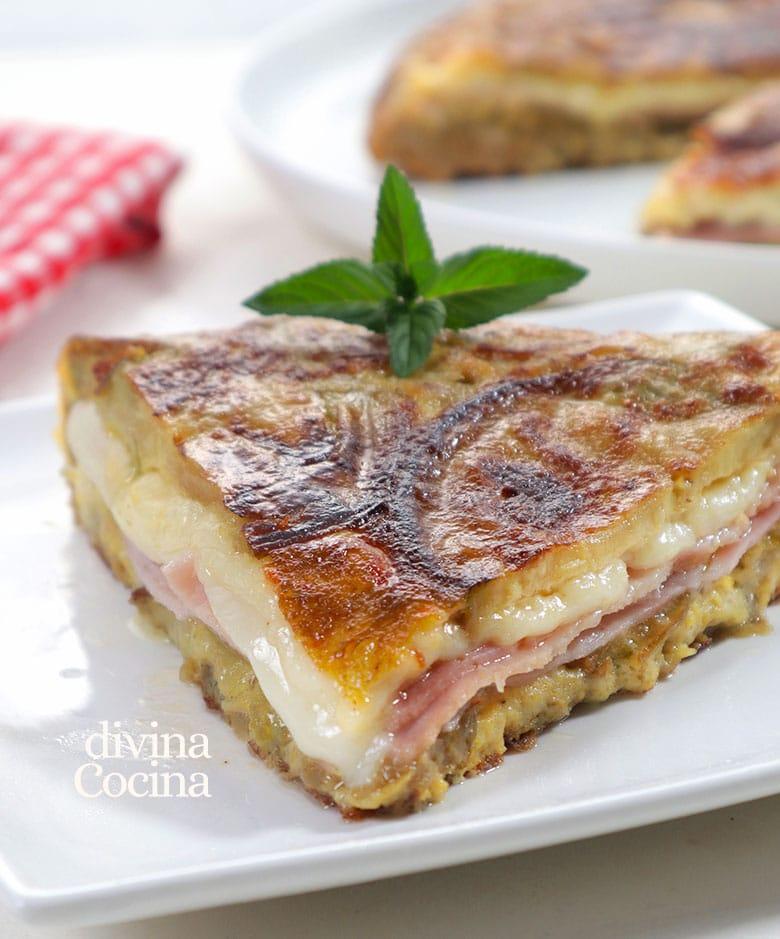 tortilla de berenjenas, queso y pimiento