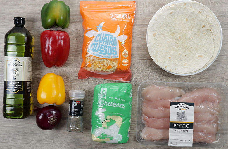 quesadillas de pollo ingredientes