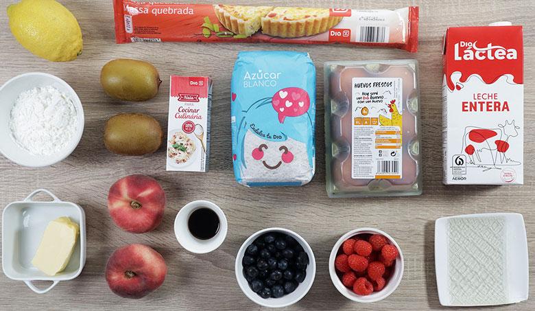 tarta crema frutas ingredientes