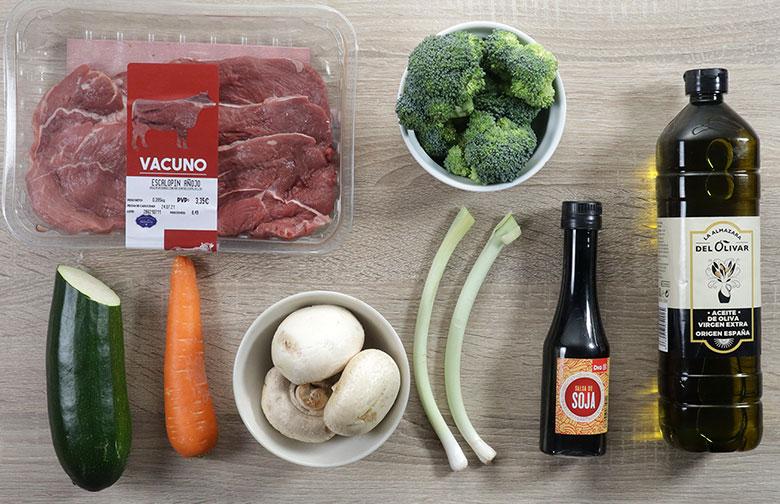 wok de ternera con verduras ingredientes