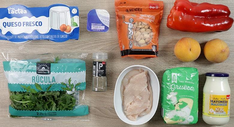 ensalada de pollo melocoton ingredientes