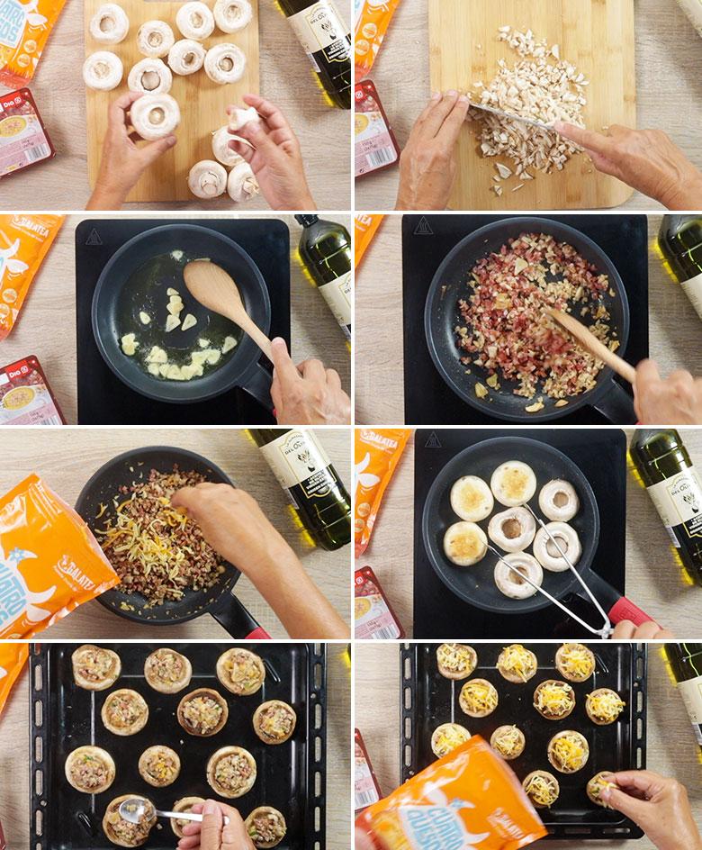 champinones rellenos jamon queso paso paso