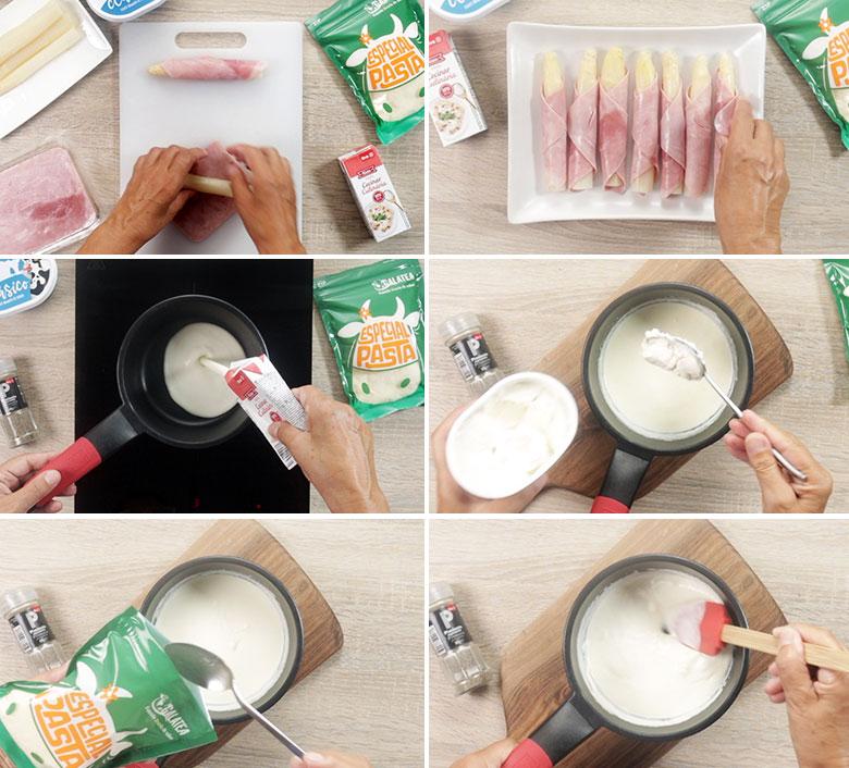 esparragos con jamon y queso paso a paso