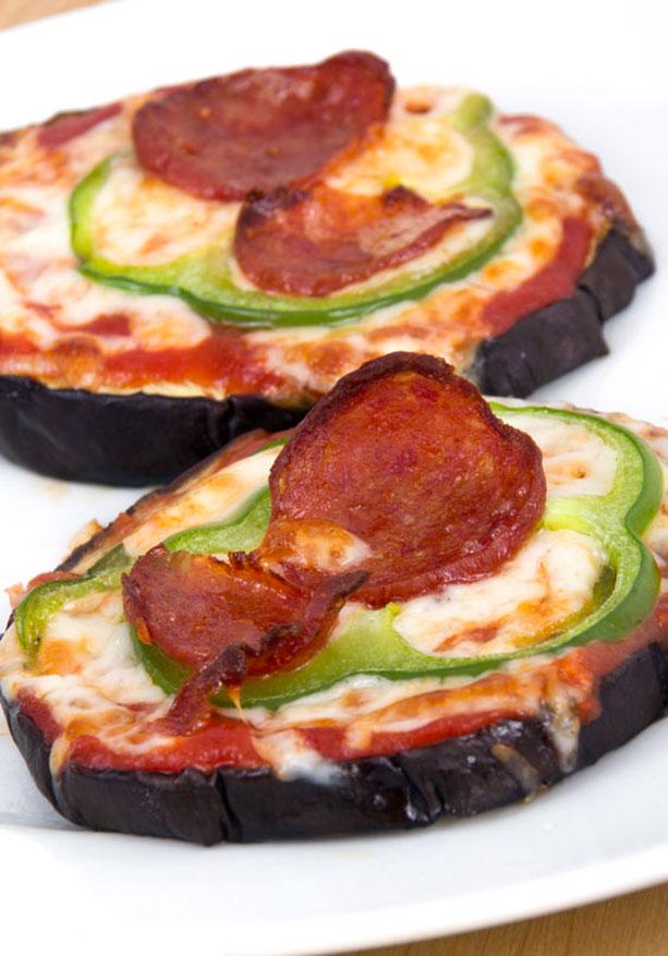mini pizzas berenjena detalle