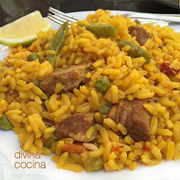 arroz rapido de carne y verduras