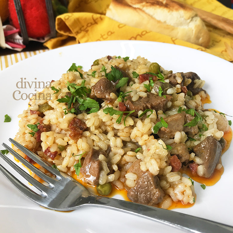 arroz con carrillera de cerdo