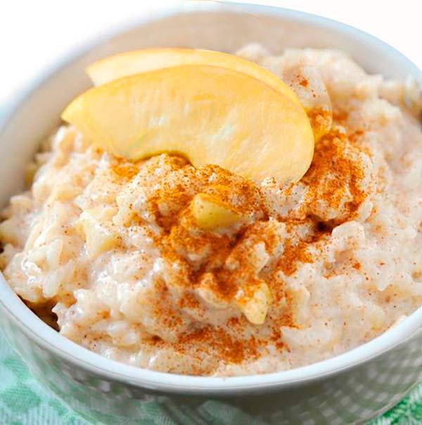 arroz con leche y manzana
