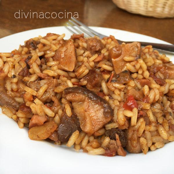 arroz montañés con carne y setas