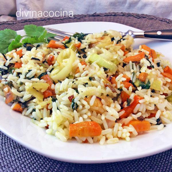 arroz salteado vegano