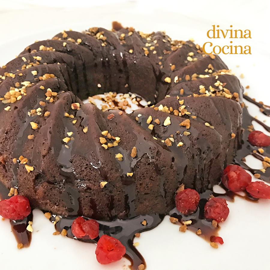 bizcocho chocolate facil en microondas