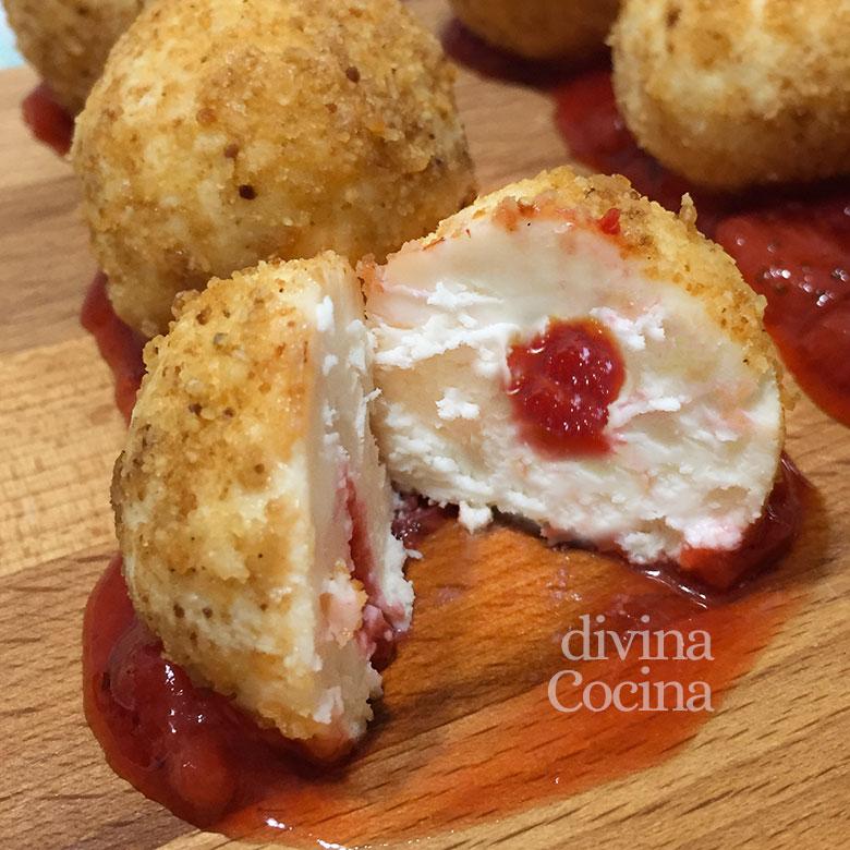 bombones de queso de cabra y mermelada