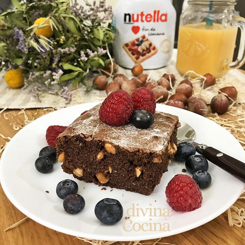 brownie de nutella facil y rapido