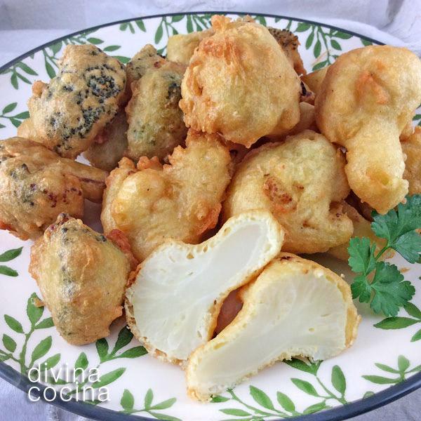 Buñuelos de brócoli o coliflor