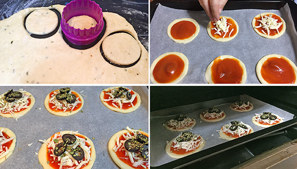 canapes de pizza paso a paso