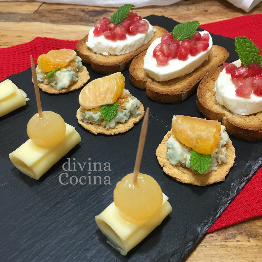 recetas canapes de queso navidad