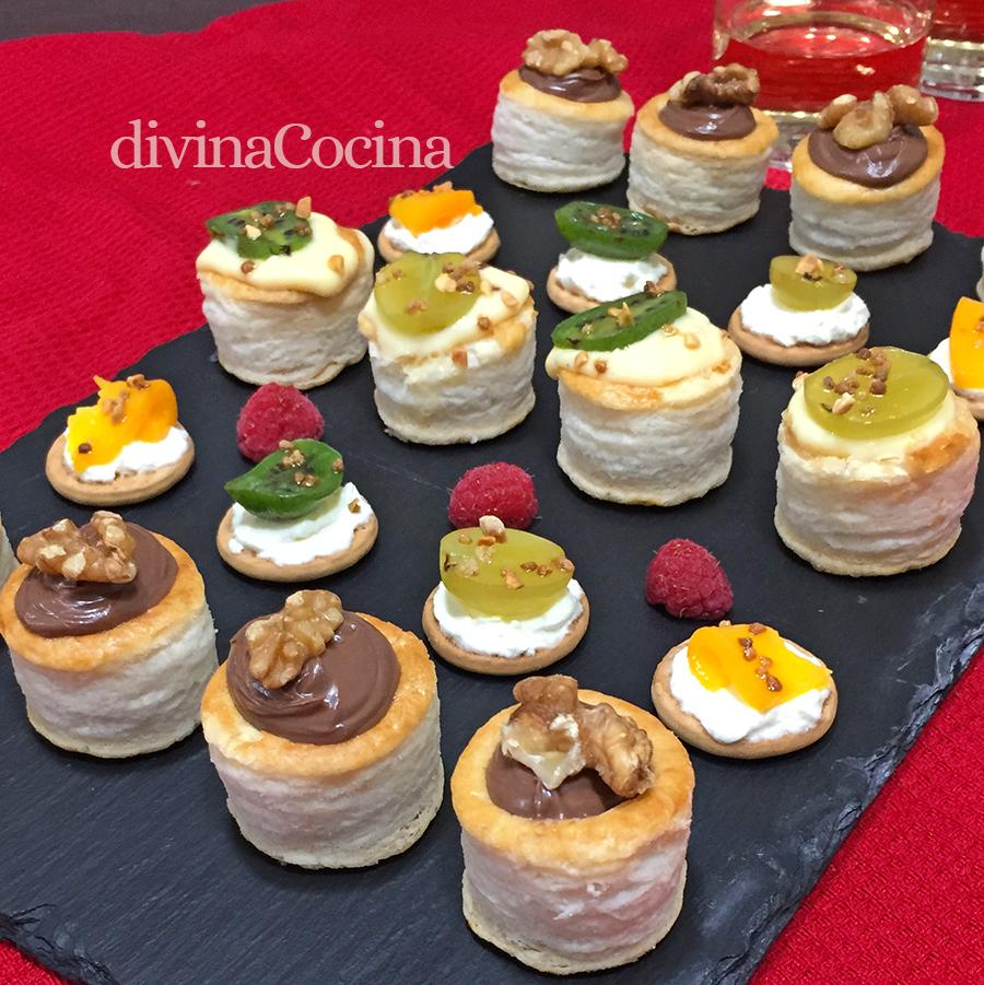Receta de mini pastelillos o canap s dulces divina cocina for Postres caseros sencillos