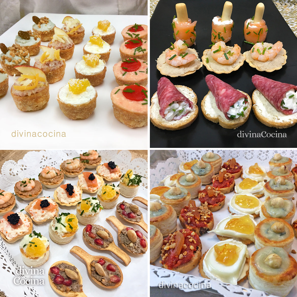 Ideas y recetas de canap s y tartaletas f ciles divina for Ideas de comidas faciles