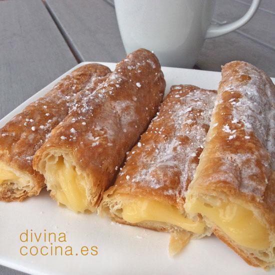 cañas de hojaldre y crema pastelera