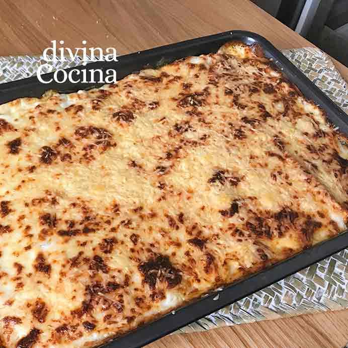 receta de canelones a la boloñesa bandeja
